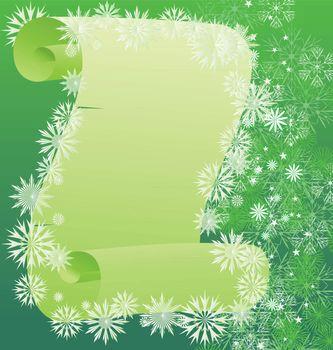 vector green scroll winter illustration