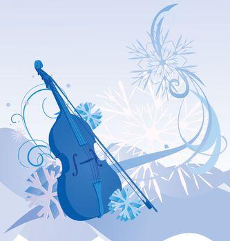 blue retro violin winter illustration