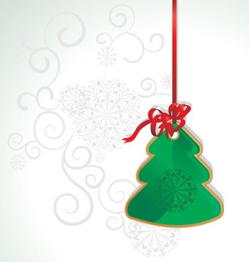 vector christmas tree with red ribbon illustration