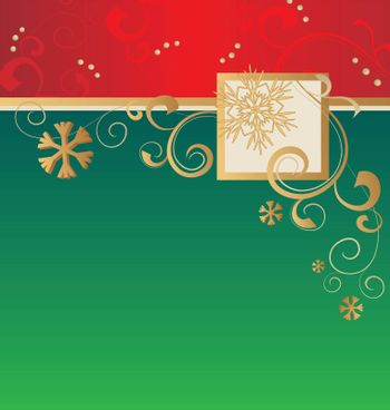 christmas card vector green and red blank