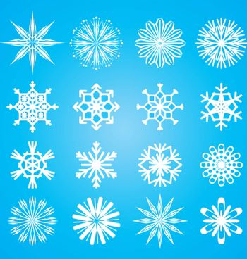vector snowflakes set on blue background