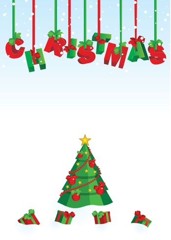 vector 3D christmas text red and green on snow backdrop