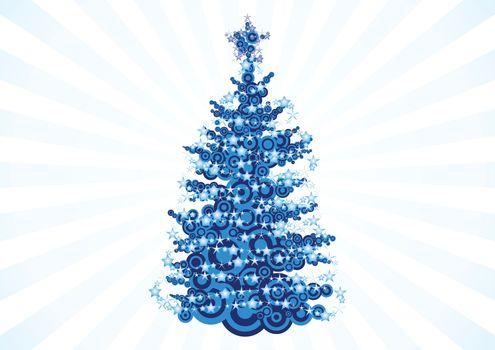 christmas tree over white