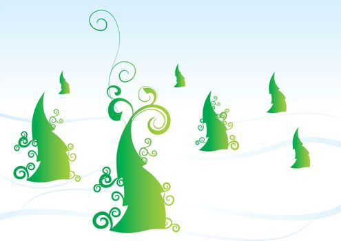 christmas tree vector forest winter
