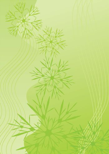 snowflakes abstract vector green backdrop