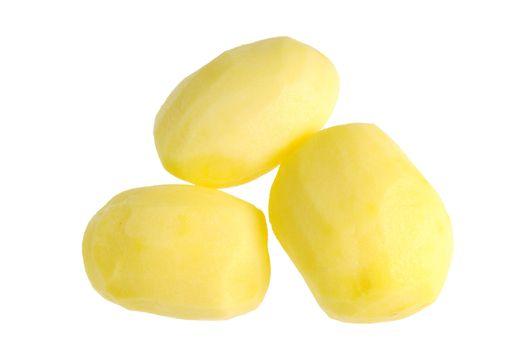 Three fresh peeled potatoes. Isolated on white background.
