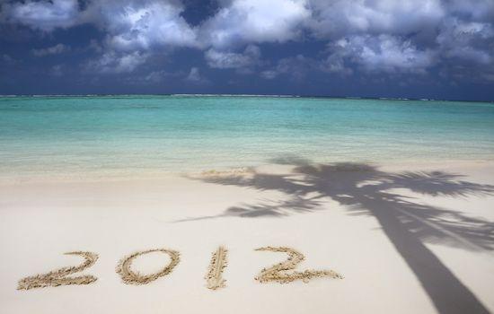 2012 on the beach of tropical island