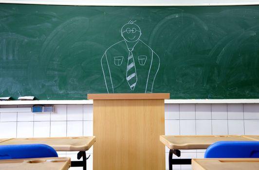 draw teacher on the blackboard in the classroom of school