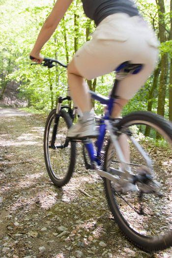 Woman riding mountainbike in a forest
