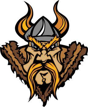 Viking Mascot Vector Cartoon with Horned Helmet
