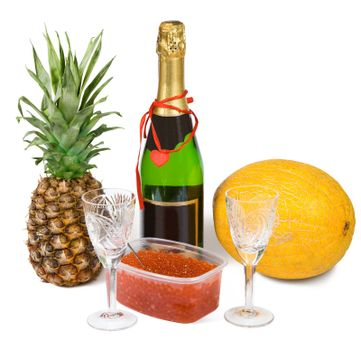 Festive set with champagne and caviar isolated on white with clipping path