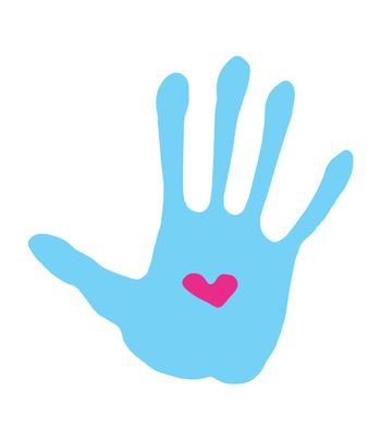 vector abstract handprint with love symbol