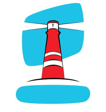 Illustration of a red lighthouse on a blue sky background