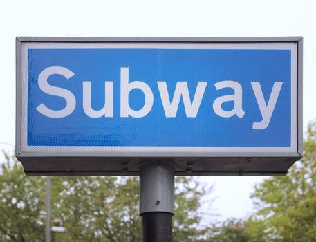 An underground subway metro tube traffic sign