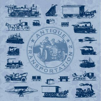 Antique transportation set, scalable and editable vector illustration;