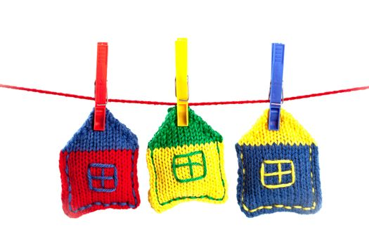 knitted colorful houses