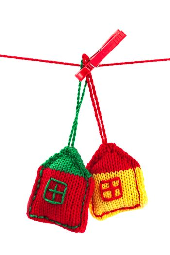 two knitted colorful houses