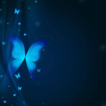 beautiful background with blue butterflies and rays