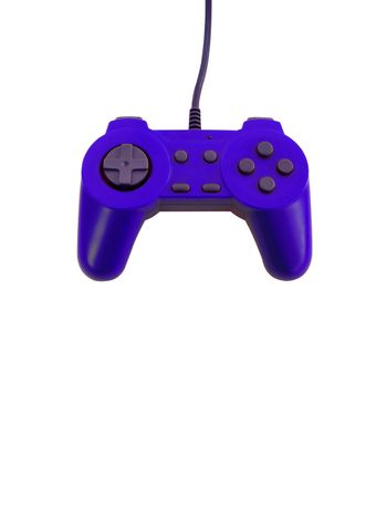 A blue game controller isolated over white with plenty of copyspace.  This file includes the clipping path.