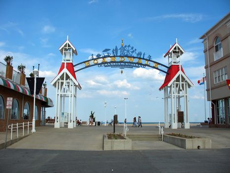 The famous public BOARDWALK sign located at the main entrance of the boardwalk in Ocean City, Maryland.