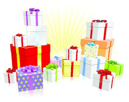 Many nicely wrapped presents for a celebration such as a Birthday or Christmas