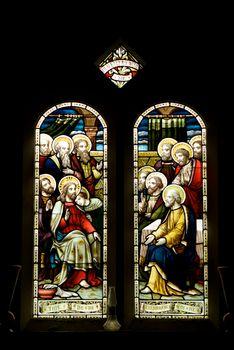 Stain glass windows in a church