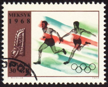 POLAND - CIRCA 1968: A post stamp printed in Poland shows relay race, devoted to Olympic games in Mexico, series, circa 1968