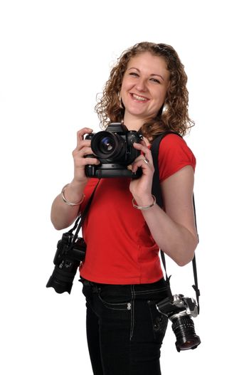 Smiley photographer, girl with camera, isolated white