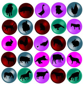 vector illustration of buttons with farm animals