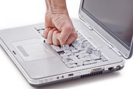 Damaged laptop by fist