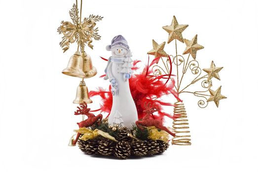 Christmas snowmans with golden bells and golden stars on the cones decoration
