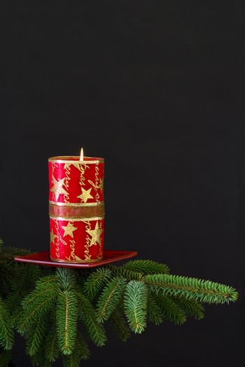 Red candle on spruce branch