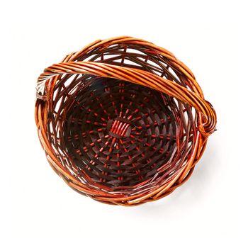 Handmade rattan basket on white background. Top view