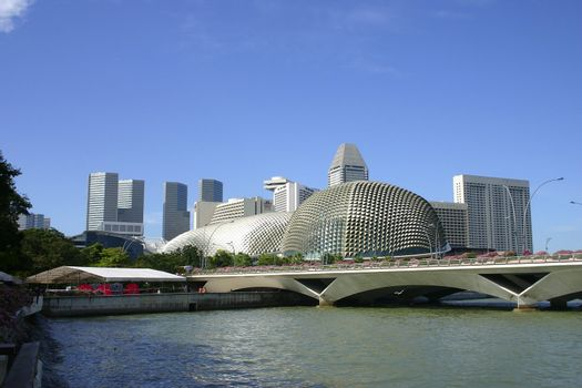 The Esplanade is located at Waterfront, Marina Bay, mouth of Sin