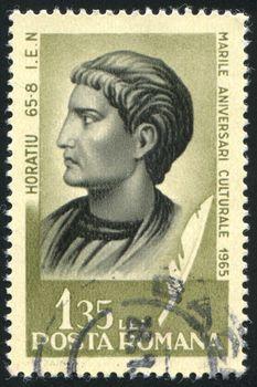 ROMANIA - CIRCA 1965: stamp printed by Romania, show Horace, Roman poet, circa 1965.