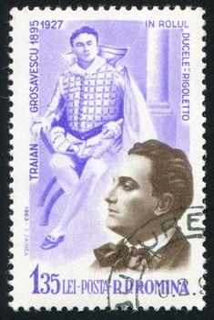 ROMANIA - CIRCA 1963: stamp printed by Romania, show Hunting Dog, Traian Grosavescu as Duke in Rigoletto, circa 1963.