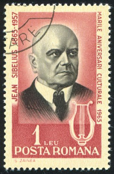 ROMANIA - CIRCA 1965: stamp printed by Romania, show Jean Sibelius, Finnish composer, circa 1965.