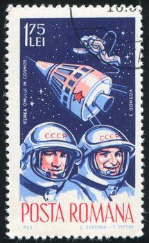 ROMANIA - CIRCA 1965: stamp printed by Romania, show astronaut, circa 1965.