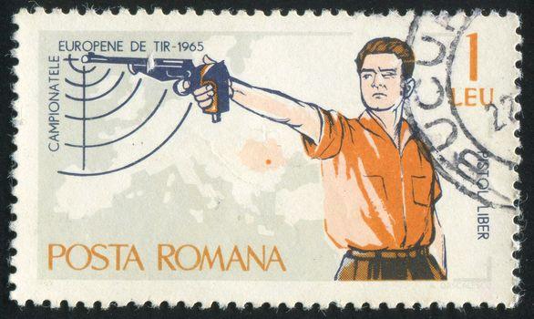 ROMANIA - CIRCA 1965: stamp printed by Romania, show hunting, circa 1965.