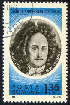 ROMANIA - CIRCA 1966: stamp printed by Romania, show Gottfried Wilhelm Leibniz, circa 1966.