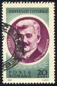 ROMANIA - CIRCA 1966: stamp printed by Romania, show Urechia Nestor, circa 1966.