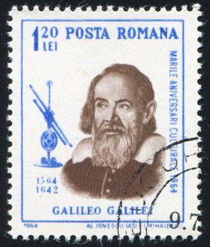 ROMANIA - CIRCA 1964: stamp printed by Romania, show Galileo Galilei, circa 1964.