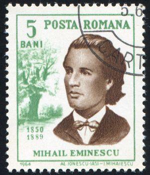 ROMANIA - CIRCA 1964: stamp printed by Romania, show Mihail Eminescu, circa 1964.