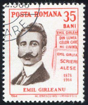 ROMANIA - CIRCA 1964: stamp printed by Romania, show Emil Girleanu, circa 1964.