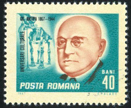 ROMANIA - CIRCA 1967: stamp printed by Romania, show Antipa, zoologist, circa 1967.