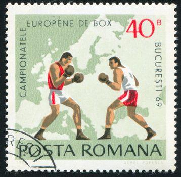 ROMANIA - CIRCA 1969: stamp printed by Romania, show  boxing, circa 1969.