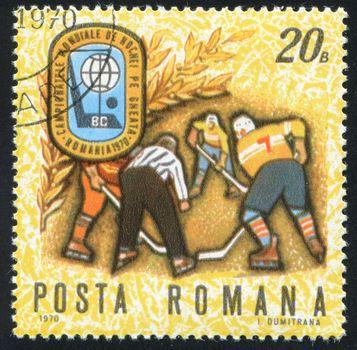 ROMANIA - CIRCA 1970: stamp printed by Romania, show hockey, circa 1970.