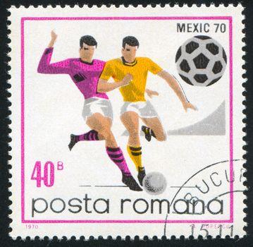 ROMANIA - CIRCA 1970: stamp printed by Romania, show football, circa 1970.
