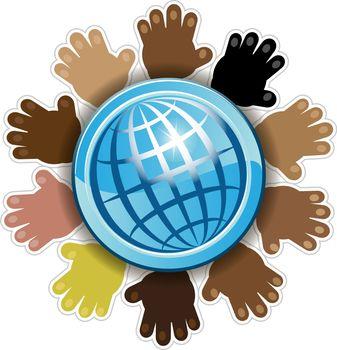 illustration, the hands of different people vokruk Blue Globe