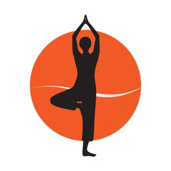 Woman in yoga asana silhouette over colourfull background. Vector illustration.